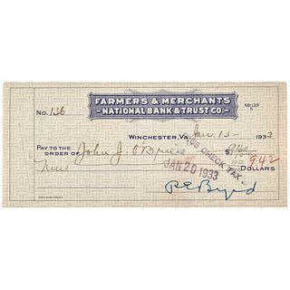 1933 RICHARD E. BYRD Polar Explorer Signed Check