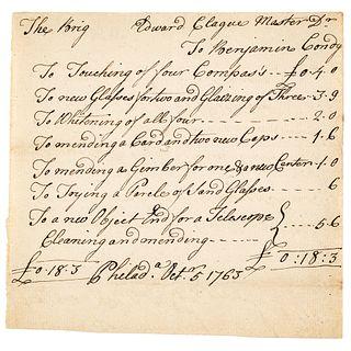 1763 BENJAMIN CONDY Philadelphia Navigational Instrument Maker Ships Invoice