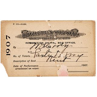WILLIAM F. BUFFALO BILL CODY Signed Wild West Show Personal Pass to His Tent