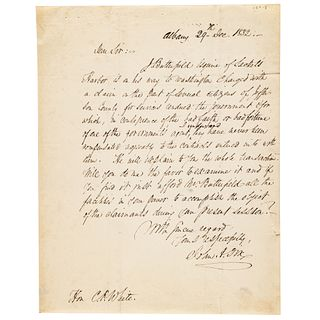 1832 Union General JOHN ADAMS DIX Autograph Letter Signed and Engraving