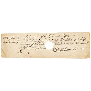 1779 Major General Nathaniel Folsom New Hampshire Committee of Safety Pay Order