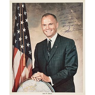 JOHN GLENN Color Photograph Inscribed + Signed Astronaut and American Hero