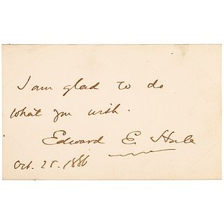 October 25, 1886-Dated Autograph Note Signed Edward Everett Hale