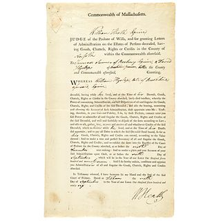 1796 Major General WILLIAM HEATH Signed Document as MA Judge of Probate of Wills