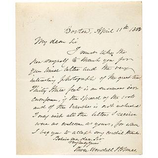 OLIVER WENDELL HOLMES SR. ALS and Vintage Photograph of Oliver Wendell Holmes