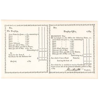 1789 Revolutionary War General JEDEDIAH HUNTINGTON Signed Treasury Document