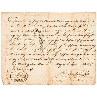 1762 ALEXANDER MARTIN 2x North Carolina Governor/Senator Promissory Note Signed