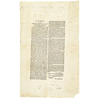 THOMAS JEFFERSON, Historic January 9, 1808-Dated Broadside: U.S. EMBARGO ACT