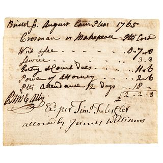 1765 Declaration of Independence Signer ROBERT TREAT PAINE Signed Legal Document