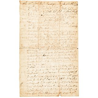 1734 Sir William Pepperrell Signed Document Mentions Captain William Wentworth
