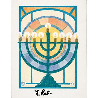 YITZHAK RABIN Israeli General  Prime Minister Signed Menorah Card