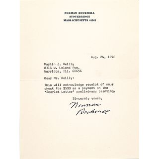 NORMAN ROCKWELL Typed Letter Signed on his Stockbridge, MA Stationary