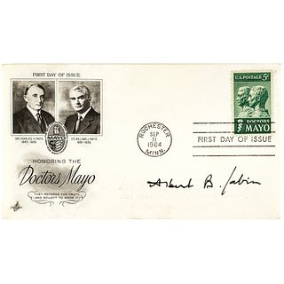 Dr. ALBERT B. SABIN Oral Polio Vaccine Inventor Signed Vignette First Day Cover