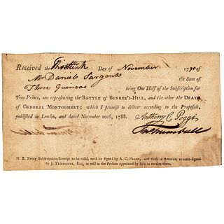 1790 JOHN TRUMBULL American Artist and Painter Invoice for Two Historical Prints