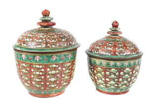 (2) Chinese Thai Bencharong Porcelain Jars