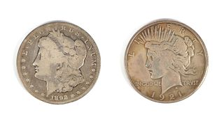 1921 Peace Dollar & 1892 CC Morgan Silver Dollar