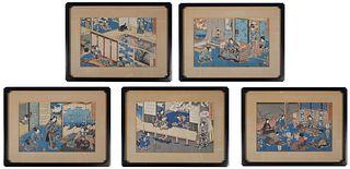 (5) KUNISADA, Woodblock Prints, Geisha & Samurai