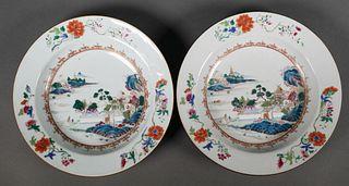 Pair Chinese Export Verte Mandarin Low Bowls