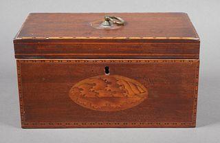 Antique English Wood Inlay Tea Caddy