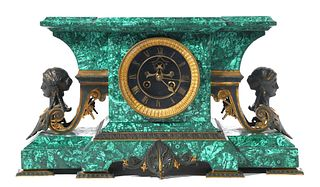 French Malachite Empire Mantle Clock