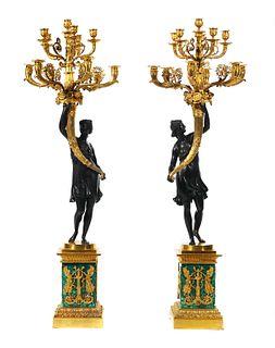 Pair Neoclassical Bronze Malachite Candelabra