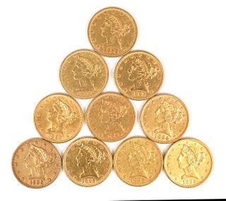 10 U.S. GOLD $5 Half Eagle Coins