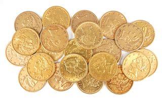 22 U.S. GOLD $5 Half Eagle Coins