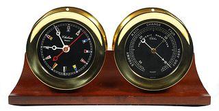 Chelsea Brass Ships Flag Clock & Barometer