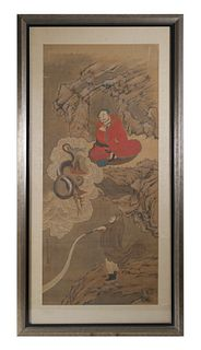Chinese Scroll Painting, Dragon, Immortals