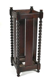 Antique Stickley Bros Barley Twist Umbrella Stand