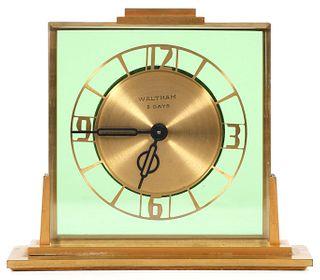 Art Deco Waltham 8 Day Manual Wind Desk Clock