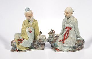 (2) Antique Chinese Porcelain Wise Man Figurine