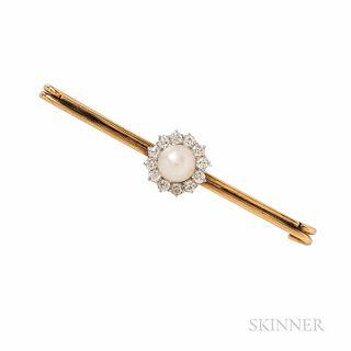 Edwardian Tiffany & Co. Pearl and Diamond Bar Pin