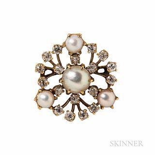 Antique Tiffany & Co. Pearl and Diamond Pendant/Brooch