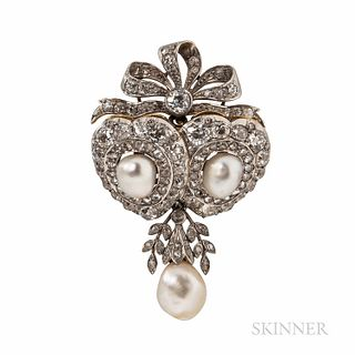 Edwardian Howard & Co. Pearl and Diamond Pendant/Brooch