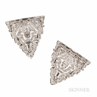 Art Deco Marcus & Co. Platinum and Diamond Dress Clips