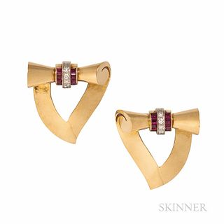 Retro Tiffany & Co. 14kt Gold, Ruby, and Diamond Dress Clips
