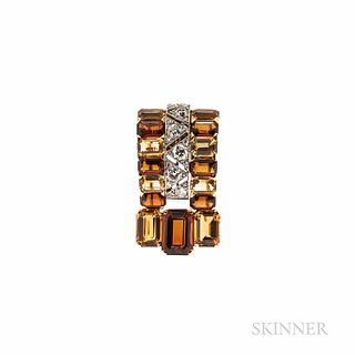 Cartier Citrine and Diamond Clip Brooch