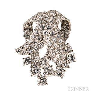 Cartier Platinum and Diamond Clip Brooch