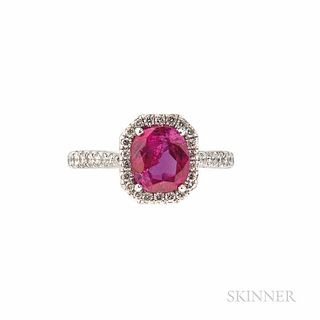 Cartier Platinum, Ruby, and Diamond Ring