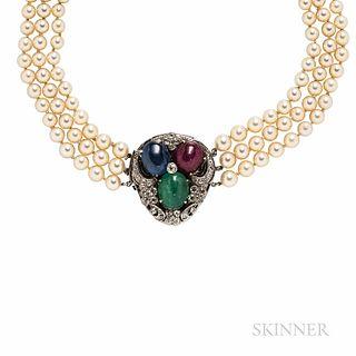 Seaman Schepps Gem-set and Cultured Pearl Necklace