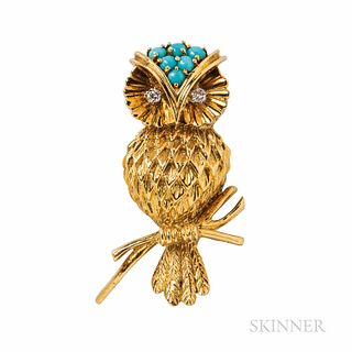 Tiffany & Co. 18kt Gold and Turquoise Owl Brooch