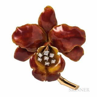 Tiffany & Co. 18kt Gold, Enamel, and Diamond Orchid Brooch