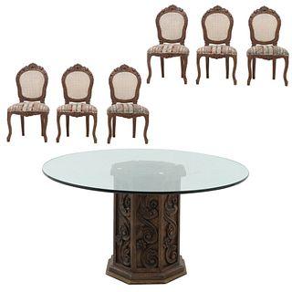 Antecomedor. Siglo XX. Elaborado en madera Consta de: Mesa. Con cubierta circular de vidrio y 6 sillas.