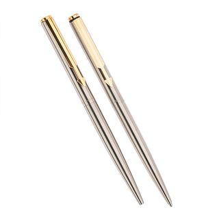 Bolígrafo y lapicero Parker. Cuerpo en acero. Clip acero dorado. Acabado liso.