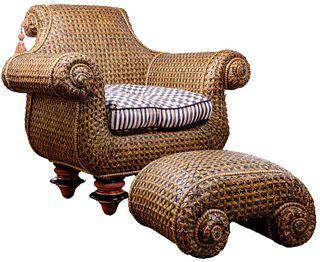 Mackenzie Childs Wicker Chair and Ottoman