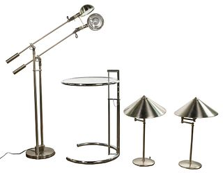 Modern Chrome Lamp and Table Assortment