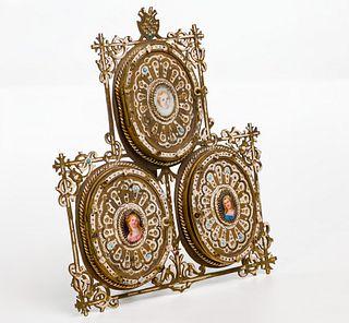 Triptych Brass and Enamel Frame