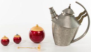 Jon Michael Route 'Moon Handle Teapot' Pewter Teapot