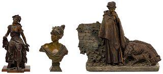(After) Emmanuel Villanis (French, 1858-1914) 'Lucrece' Metal Female Bust